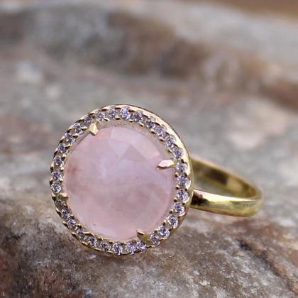 Gorgeous Ring,Rose Quartz Halo Ring..