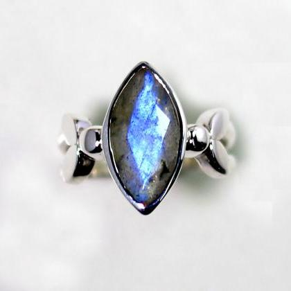 Fire Labradorite Ring,faceted marqu..