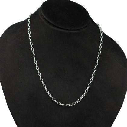 Plain Silver Chain Necklace,Figaro ..