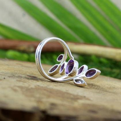Amethyst Flower Designer Ring,Weddi..