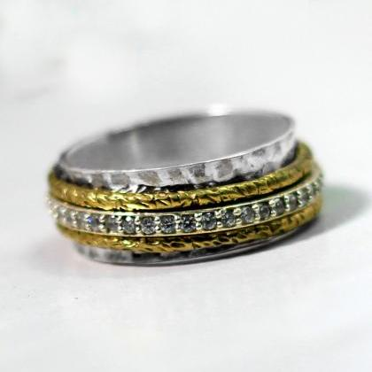 Women Spinner Ring,Texture Silver B..