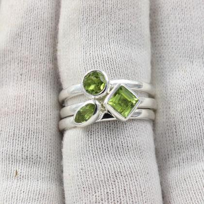 Three Ring Set,Peridot Stacking Rin..