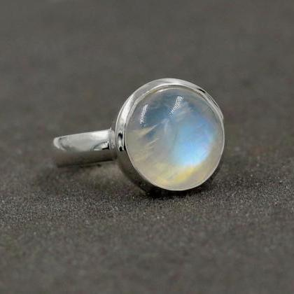 Rainbow Moonstone Handmade Ring Sol..