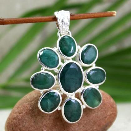 Real Emerald Pendant,Solid 925 Ster..
