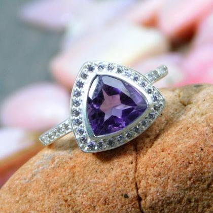 Amethyst CZ accented Ring,Solid 925..