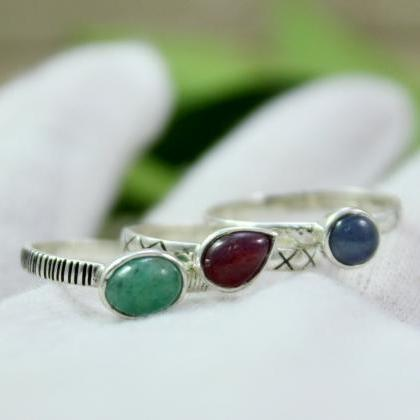 Real Ruby,Emerald,Sapphire Stacking..