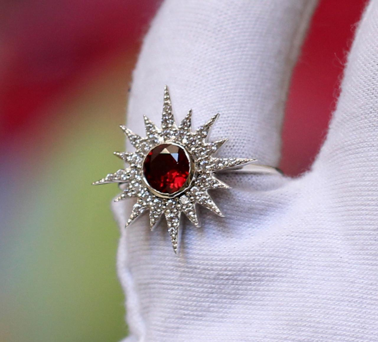 Gorgeous Sun Ring,Natural Garnet,Solid 925 sterling silver CZ jewelry,Anniversary Gift,Proposal Ring,Party Ring,Wedding Gift,Engagement ring