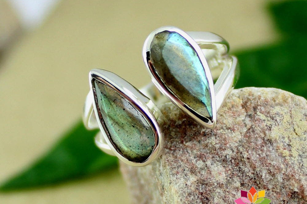 My Twin Stone Labradorite Ring,925 sterling silver Jewelry,Front open Unisex Ring,Anniversary Ring for Spouse,Daily Office Wear Ring,MR1121