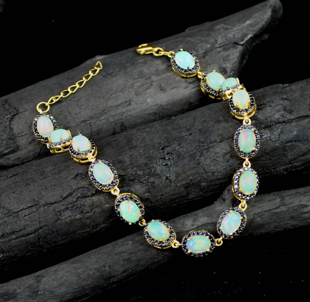 Majestic Wedding jewelry,Ethiopian Opal & Black CZ halo Bracelet,925 sterling silver,Gold Plated Jewelry,Anniversary present,Beautiful gift