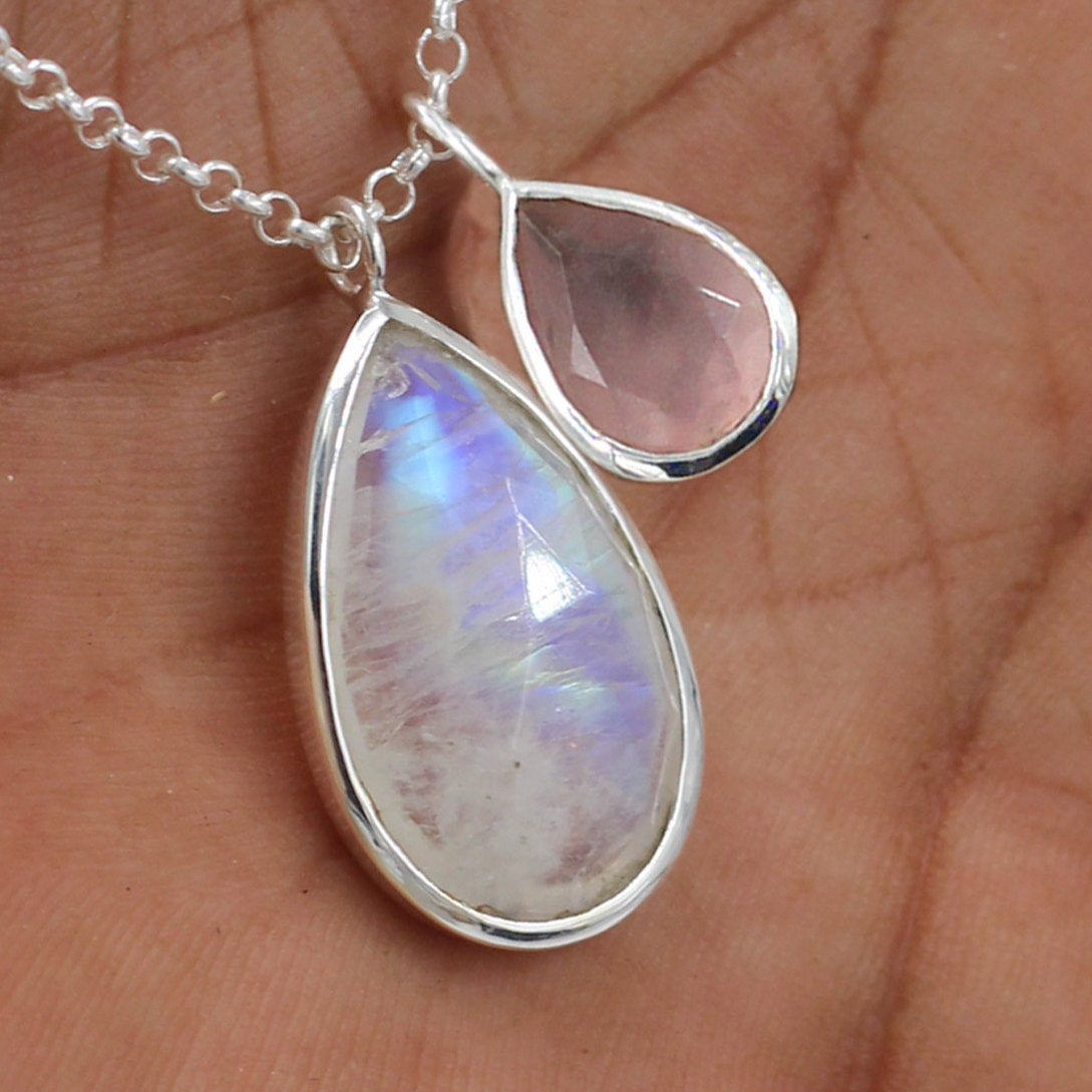Genuine Moonstone Gemstone Necklace,Solid 925 Sterling Silver Jewelry,Handmade Women's Gift Necklace, PartyWear Gift Necklace ETN0033