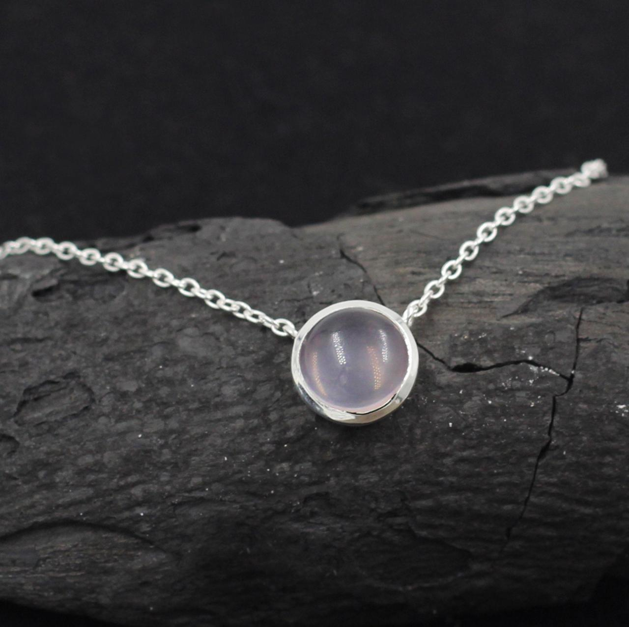 Brazilian Rose Quartz Cabochon 10 mm Necklace,Solid 925 Sterling Silver Handmade Jewelry,Anniversary Gift,Proposal Gift,Office Wear Necklace
