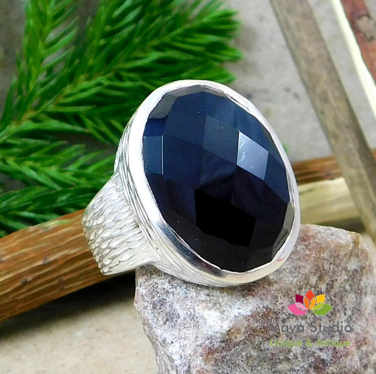 Impressive Black Onyx ring,Gift for Dad,Solitaire onyx Ring,925 sterling silver men/women Jewelry,Textured Wide Band,Gift for Grandmother