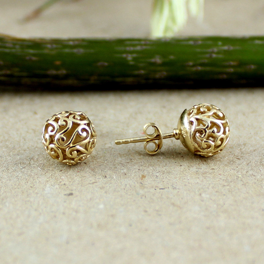 Filigree ball earring, ball stud earring, gold plated silver, filigree Post earrings,Daughter's Birthday gift,Back to school silver jewelry