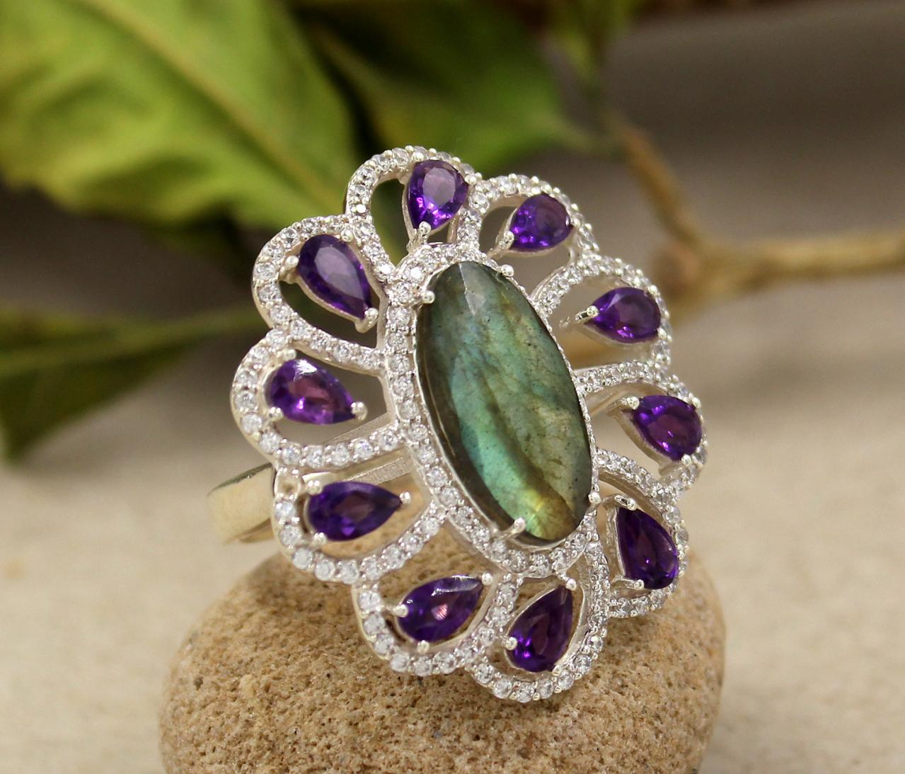 Magnificent Labradorite & Amethyst,CZ Ring,Statement Ring,Wedding Jewelry,Solid 925 Sterling Silver Jewelry,Anniversary Gift,Proposal Ring