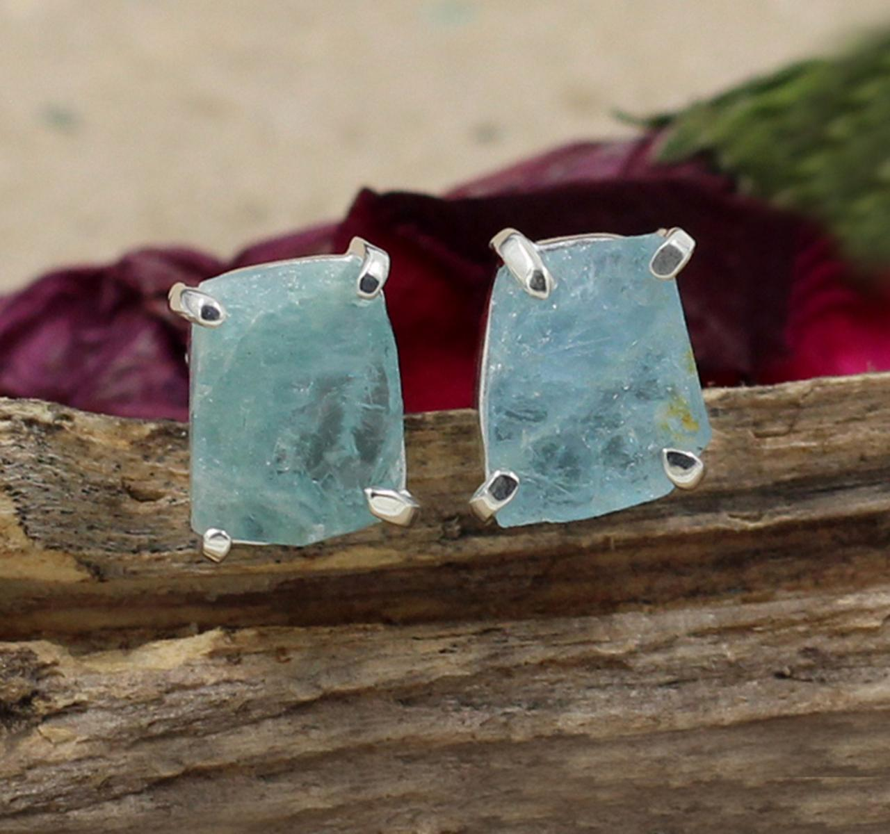 Rough Aquamarine Stud Post Earrings,Solid 925 Sterling Silver Jewelry,Gift Valentine's Earring,Anniversary Gift for wife