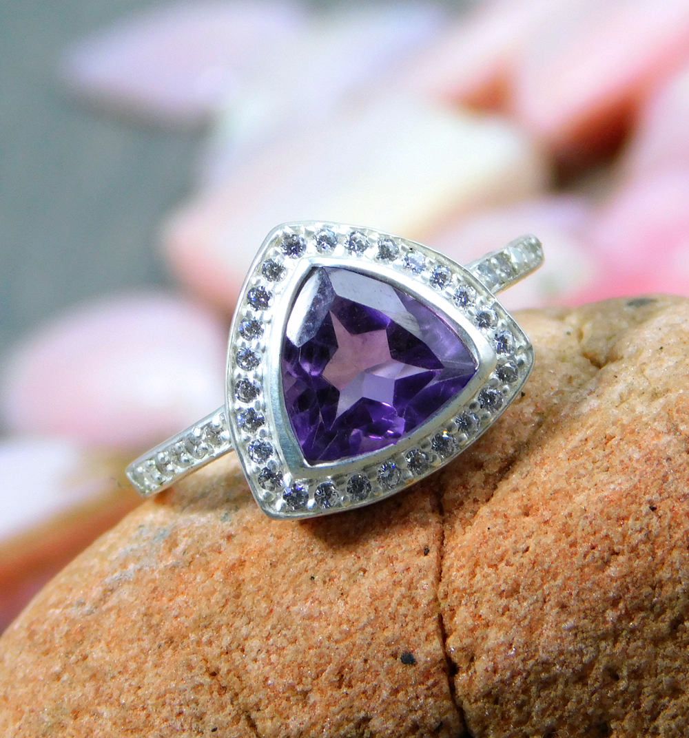 Amethyst CZ accented Ring,Solid 925 Sterling Silver Jewelry,Engagement ring,Wedding Gift,Promise Ring,Anniversary Gift Ring,Natural Gemstone