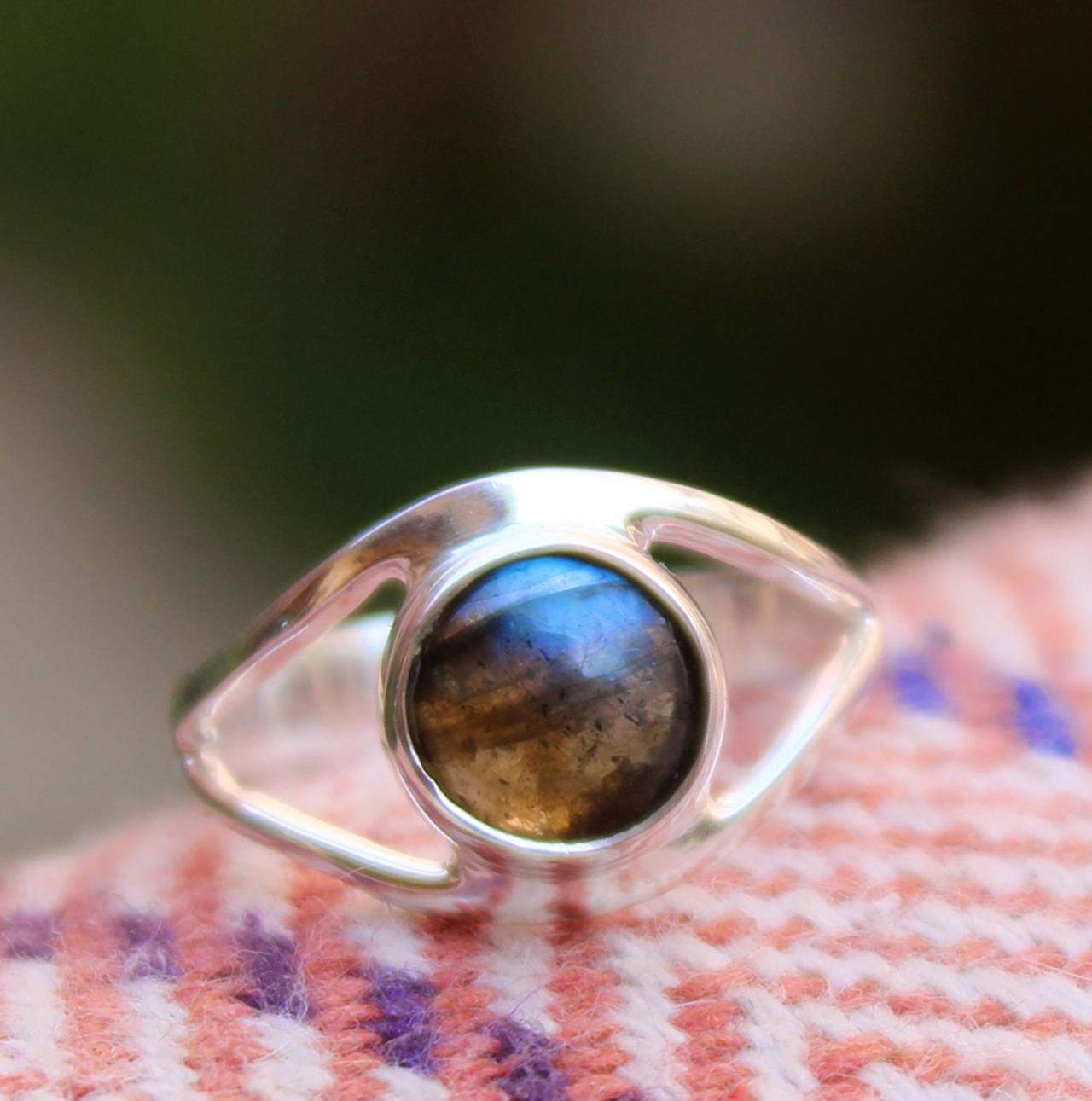 Evil Eye Ring Protective Jewelry,Natural Fire Labradorite Ring,Solid 925 Sterling Silver Gemstone Jewelry,Birthday Gift,Daily Wear Ring Gift.
