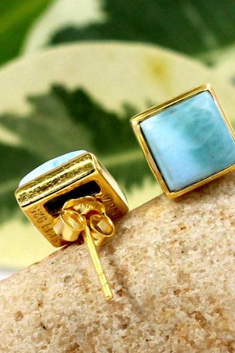 Dominican Larimar Earring,Gold Plated Stud Post,925 Sterling Silver Handmade Jewelry,Gift For Friend,Birthday Gift,Baby Shower GiftETER1017