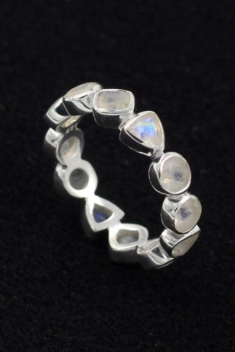 Rainbow Moonstone Eternity Ring,Solid 925 Sterling Silver Gemstone Jewelry,Handmade Moonstone Band,Anniversary Wedding Band,MR1188