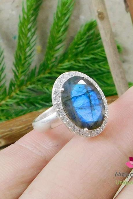 Faceted Labradorite CZ Halo Ring,Engagement Ring,Anniversary Present,Wedding gift,Solid 925 sterling silver jewelry,Thanksgiving Gift Ring