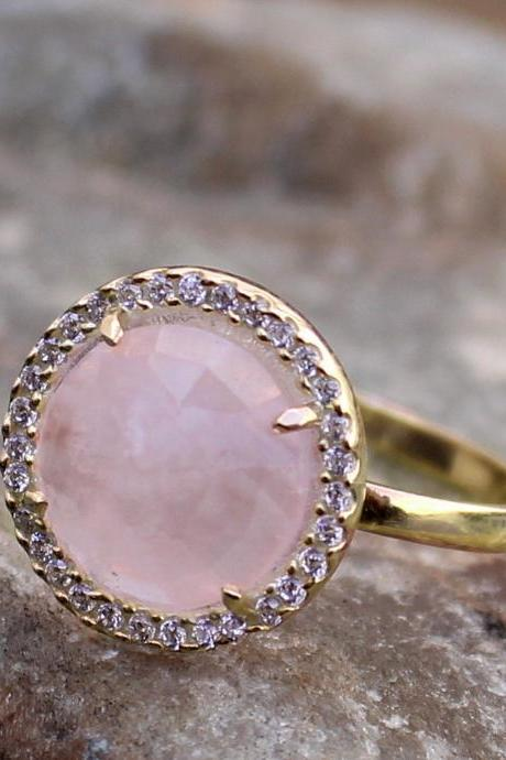 Gorgeous Ring,Rose Quartz Halo Ring,Anniversary Gift,Solid 925 Sterling Gold Plated Jewelry,Engagement Ring,Wedding Jewelry,Birthday Gift