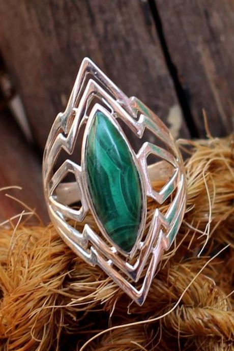 Exclusive Malachite Ring,925 sterling silver unisex ring,gemstone jewelry,Anniversary Gift,Healing Gemstone,Birthday Gift,Thanksgiving Gift