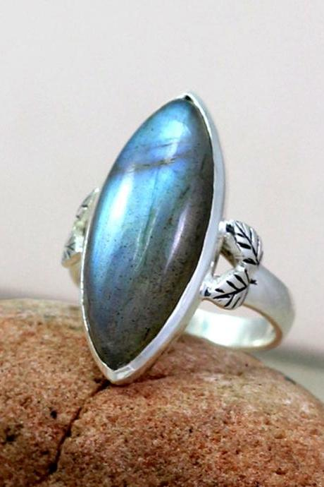 Labradorite Ring, Gemstone Ring, Wedding Ring, 925 Sterling Silver Ring, Marquise Ring, Handmade Designer Ring, Engagement Ring Jewelry