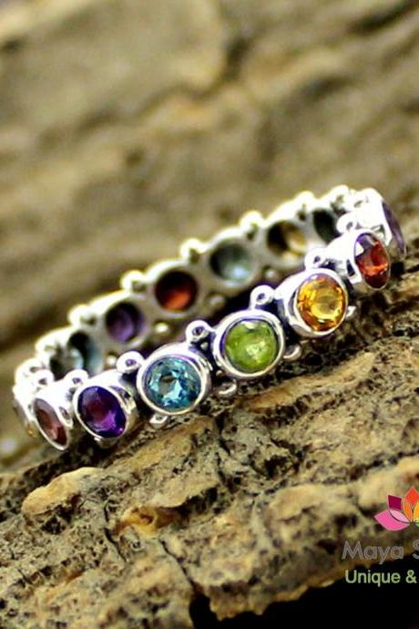Eternity band,Chakra Gemstone,Infinity Ring,Wedding Jewelry,Engagement Ring,Anniversary gift,solid sterling 925 silver jewelry,Unisex Ring