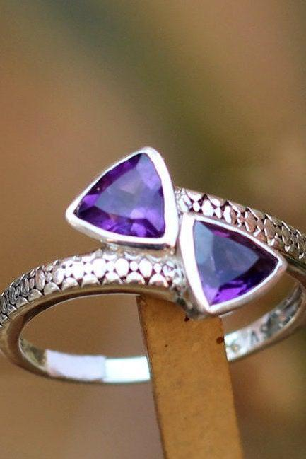 Super Real Royal Purple Amethyst Textured silver Ring,Solid 925 sterling silver jewelry,Anniversary Ring,Proposal Ring,My Thanksgiving Gift