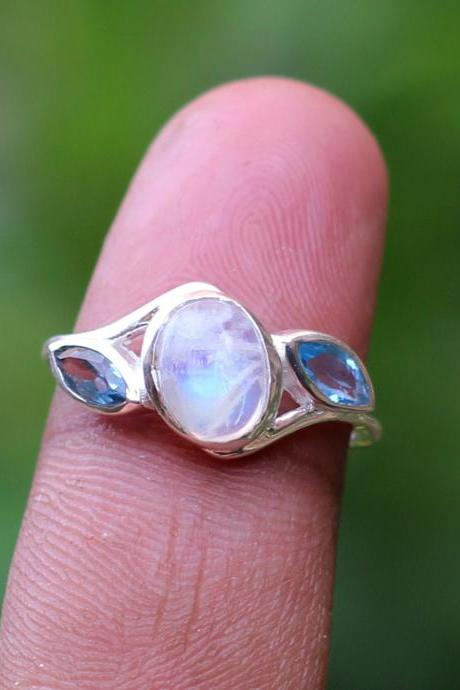 Natural Moonstone Blue topaz Handmade Ring,cute little gift for wife birthday present 925 sterling silver jewelry