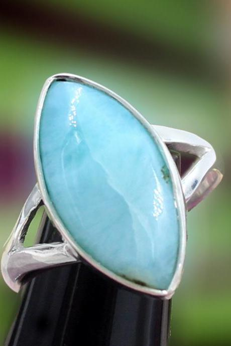 Elegant Larimar Ring,Natural Dominican Larimar,Solid 925 Sterling Silver Gemstone Jewelry,Anniversary Gift,Promise Ring,Mom's New Year Gift
