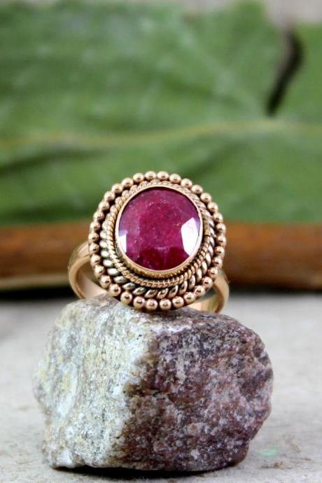 Ornate Ruby Ring,Rose Gold Plated 925 Sterling Silver Ring,Indian Traditional Handwork Jewelry,Mom's Birthday Gift,Anniversary Ring
