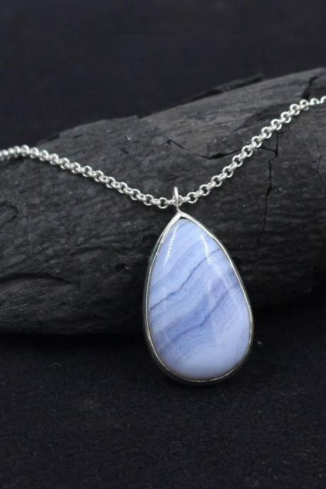Genuine Blue Lace Agate Necklace,Solid 925 Sterling Silver handmade Jewelry,Christmas Gift,Anniversary Present,Chain Pendant Necklace Gift