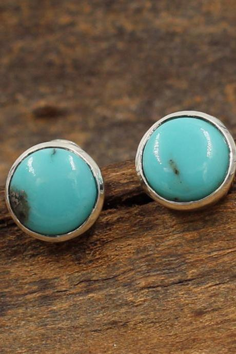 Novel American Turquoise Stud Earring,Solid 925 Sterling Silver Handmade Jewelry,Anniversary Gift,Thanksgiving Present,My Christmas present