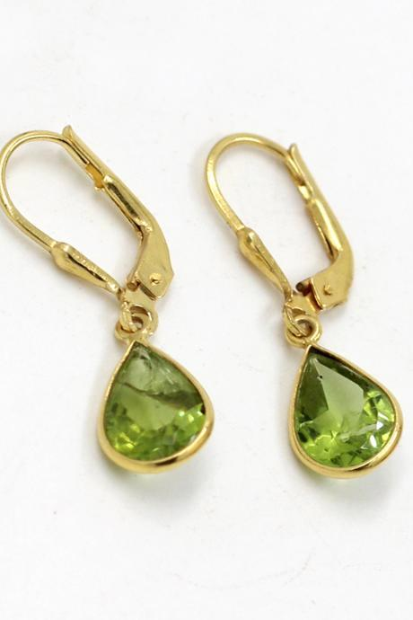 Genuine Natural Peridot Gemstone Lever Back Earring,Solid 925 Sterling Silver Jewelry,Birthday Chirstmas Gift Earring
