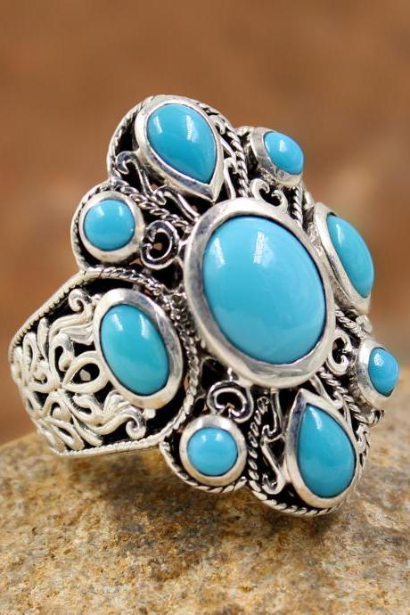 Exclusive Sleeping Beauty Turquoise Ring,oxidized 925 sterling silver Bali Ring,Valentine Gift,Ornate Ring, MR1245