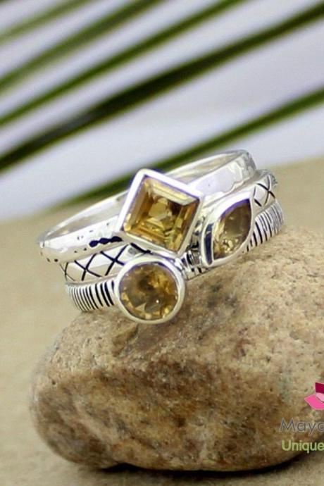 Novel Set Of Three Stacking Ring Of natural Citrine,Anniversary gift,Birthday Present,925 sterling silver Oxidized jewelry,Set of Three Ring