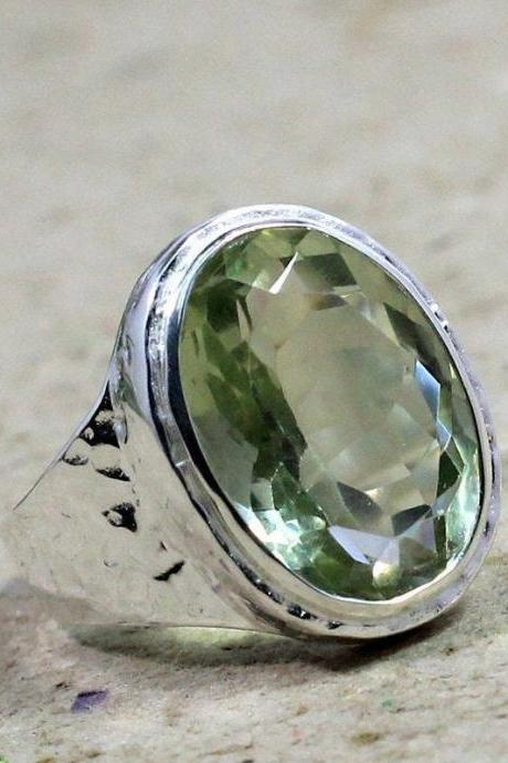 Exclusive Green Amethyst Ring, 925 Sterling Silver Jewelry,Valentine Gift,Men/Women Ring,Hand hammered ring,Faceted Natural Gemstone MR1060