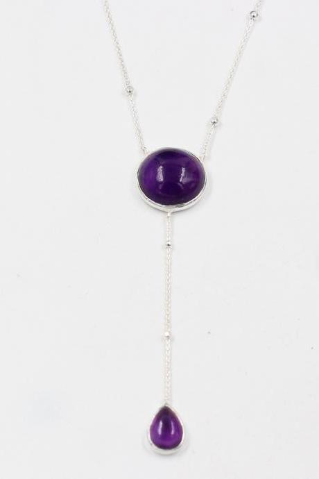 Vibrant Purple Amethyst Lariat Necklace,Solid 925 Sterling Silver Jewelry,Christmas Gift for Mom,Anniversary Gift,Bridal shower Party Wear,