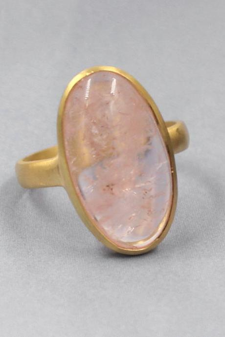 Genuine Morganite Ring,Oval Cabochon Gemstone Handmade Men's Ring,Solid 925 Sterling Silver Jewelry,Engagement Ring