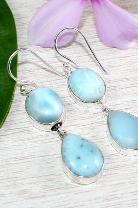 Azure Sea Blue Dominican Larimar Earring of solid 925 sterling silver,handmade jewelry,Gift for Mother,Anniversary Gift,Anniversary Gift