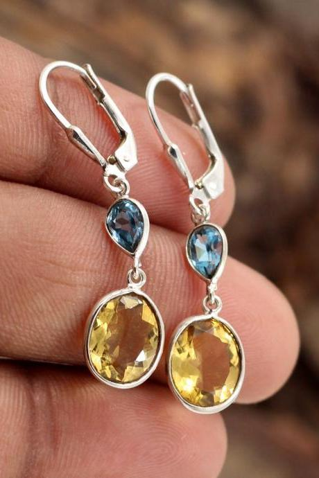 Tantalizing Citrine & Blue Topaz Lever Back Earrings,Solid 925 Sterling Silver Jewelry,Gift Valentine's Earring,Anniversary Gift for wife