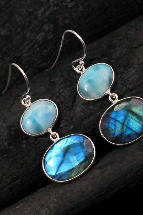 Striking two stone Larimar & Labradorite Earring,925 Sterling Silver Earring,Gift for Mom,Daughter's Birthday Gift,Everyday earring ETER1040