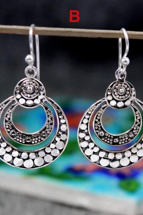Traditional Silver ethnic Earring,Solid 925 Sterling Silver jewelry,Casual Wear,Earring for girls,Gift for Girl friend,danglers for sister