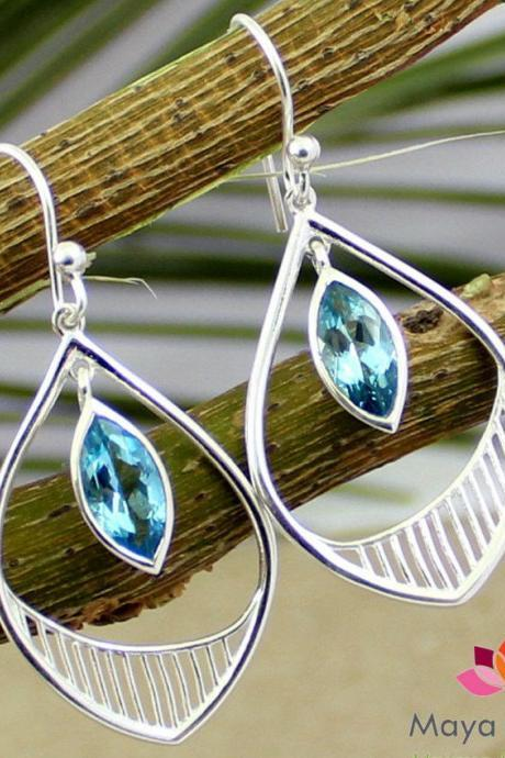 Brilliant Swiss blue topaz earring,Anniversary Gift,Designer dangler,Solid 925 sterling silver jewelry,Sister's Christmas Gift,Birthday gift