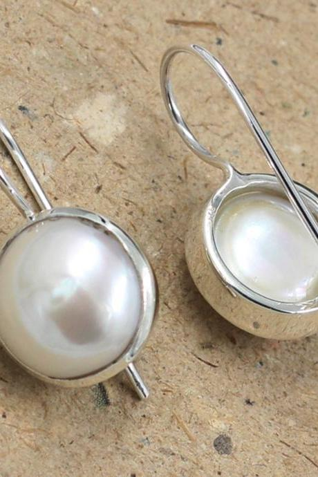 Moonshine Fresh Water Pearl Earring,925 Sterling Silver Jewelry,Anniversary Gift,Christmas gift for Mother,Baby Shower Gift,Wedding Jewelry