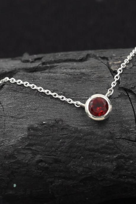 Garnet Gemstone Necklace For Young Girls,Solid 925 Sterling Silver Daily Wear Jewelry,Birthday Gemstone present,Office wear silver For Me