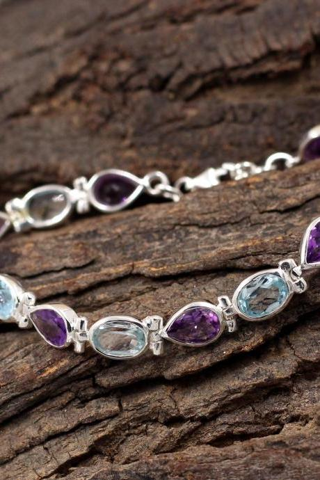 Gorgeous Blue Topaz & Amethyst Tennis Bracelet,Solid 925 Sterling Silver,Anniversary Gift,Christmas Present for Mother,Gift for Girl friend