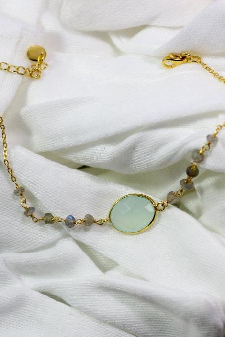 Trendy Chalcedony Bracelet,Labradorite roundel rosary,Solid 925 Sterling Silver Jewelry,Gold Plated,Surprise Gift Bracelet for Girl Friend