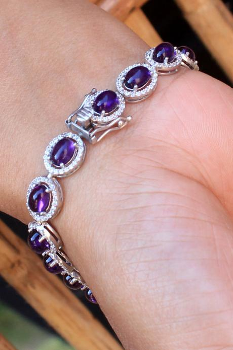 Resplendent Amethyst Bracelet,CZ Accented Statement Jewelry,Solid 925 Sterling Silver,Exclusive Proposal gift,Anniversary Gift ETB1007